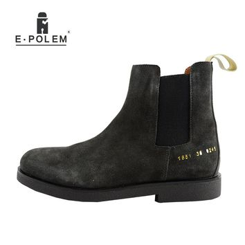 New Winter Chelsea Casual Genuine Leather Men Boots Platform Men Flat  Boot Shoes Deep Grey And Apricot Slip On Ankle Boots