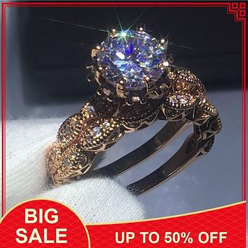 Vintage Women Round Cut 3ct AAAAA zircon Cz Rings Rose gold Filled 925 Sterling silver Flower wedding Band ring set