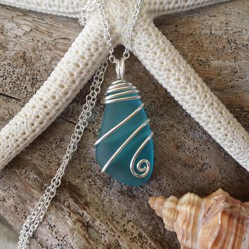 Handmade in Hawaii, Blue sea glass necklace, sterling silver chain,gift box,beach glass necklace,sea glass jewelry,beach glass jewelry