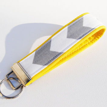 Gray chevron Key fob with a yellow accent, pastel, key chain, lanyard, wristlet