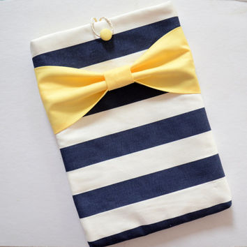 "Macbook Air 11 Sleeve MAC Macbook 11"" inch Laptop Computer Case Cover Navy & White Stripe with Yellow Bow"