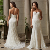 Simple Sheath Strapless Wedding Dresses with Train