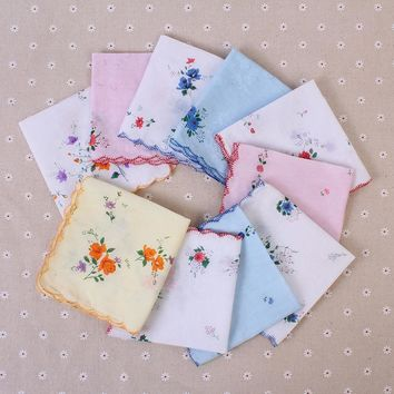 5Pcs Cotton Handkerchief Ladies Handkerchief Vintage Printed Floral Flower Women Pocket Towel Random Color 30cm*30cm