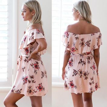 Fashion Casual Flower Print Off Shoulder Short Sleeve Frills Mini Dress