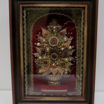 Vintage  Jeweled  Tree  Shadowbox  3D Rhinestones  Pearls Gold Brocade  Maroon Velvet   Ornate Dark Wood Frame Wall Art