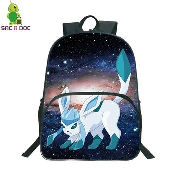 Glaceon Galaxy Universe Space Backpack School Bags for Teenage Boys Girls Travel Shoulder Bag Kids Book BagKawaii Pokemon go  AT_89_9
