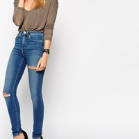 ASOS Ridley Skinny Jeans In Putsborough Midwash Blue with Thigh Rips