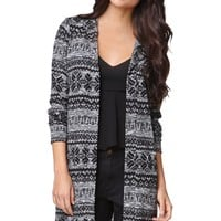 LA Hearts Fairisle Hooded Cardigan - Womens Sweater - Grey