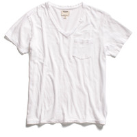 Pocket V-Neck T-Shirt in White