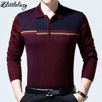 2018 casual long sleeve business mens shirts male striped fashion brand polo shirt designer men tenis polos camisa social 6737