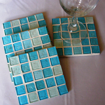 Teal Blue Glass Coasters, Mosaic Coasters, Blue Coasters, Christmas, Holiday, Housewarming, Hostess Gift, Home Decor
