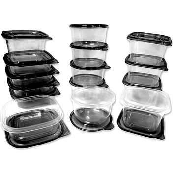Imperial Home Plastic Container Set Black Lids Case Pack 12