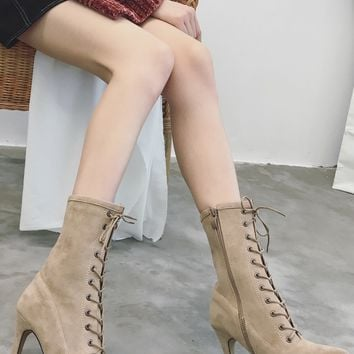 Beige Faux Suede Lace Up Pointed Heeled Boots