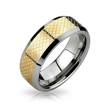 Simple Couples Wedding Band Tungsten Rings Silver Gold Two Tone 8MM