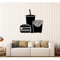 Vinyl Wall Decal Fast Food Hamburger Soft Drink Stickers Unique Gift (324ig)