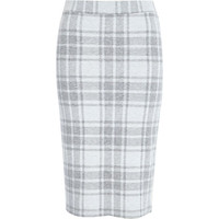 River Island Womens Cream check jersey pull on pencil skirt