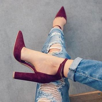 6 Colors Pointed Strappy Pumps Retro High Thick Heels Shoes 2107 New Woman Shoes Female Lace Up Shoes