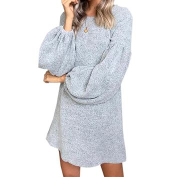 Autumn Winter Women Dress Femme Lantern Sleeve Knitting Sweater Dress Loose Casual Knited Warm Kawaii Mini Dress Plus Size GV073