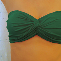 Shamrock Green Bandeau Top - Twisted Spandex Blend Swimsuit Bikini