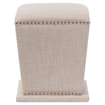 Baxton Studio Beverly Modern and Contemporary Beige Fabric Upholstered Nail head Ottoman Stool Set of 1