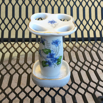 Blue Flowered Porcelain Toothbrush Holder, Vintage Item, Made in Japan, Bathroom Vanity, Shabby Chic
