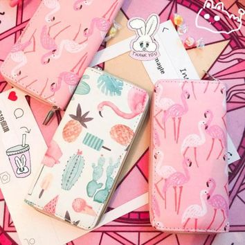 Cute Holiday Flamingos Girls Wallets Women PU Leather Wallet Card Holder Purse Envelope Bag New