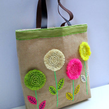 Straw flowers on jute tote bag, handmade, unique, boho,embroidered, resort, summer, beach tote bag