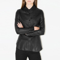 Black Collared Button Down Long Sleeve Faux Leather Top