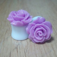 Buy 2 Pairs/Get 3rd FREE! Purple Pastel Medium Flower Rose Plugs/Gauges 4G 2G 0G 00G 1/2 9/16 5/8 11/16 3/4