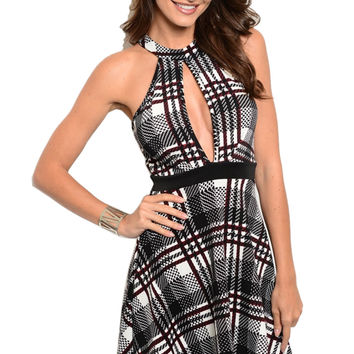 Fit & Flare Cocktail Dress W/ Chest Cutout