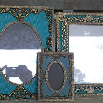 Set of 3 Vintage Ornate Burnished Gold Picture Frames