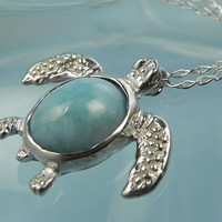 NECKLACE  Sea Turtle Larimar Sterling Silver by FantaSeaJewelry