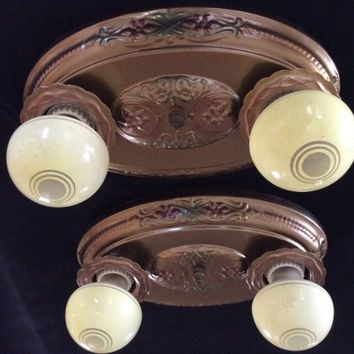 Pair Antique Vintage Art Deco 2 Bulb Ceiling Light Fixtures 1930s Polychrome
