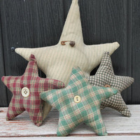 Set of 4 Primitive Fabric Stars Home & Living Rustic Country Home Decor