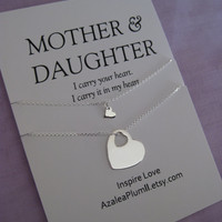 MOM.  Mother Daughter Necklace. Mother of Bride Gift. Birthday Gift. Mom Daughter Jewelry. Gift for Her. New Mom Gift. Mom Jewelry