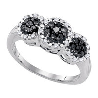 Black Diamond Fashion Ring in 10k White Gold 0.34 ctw