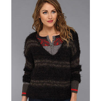 Free People Linus Stripe Pullover Washed Black - 6pm.com