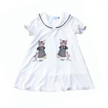 Cat Sailor Collar Print Dress