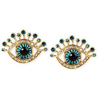 Betsey Johnson Gold-Tone Glass Stone and Enamel Eye Stud Earrings