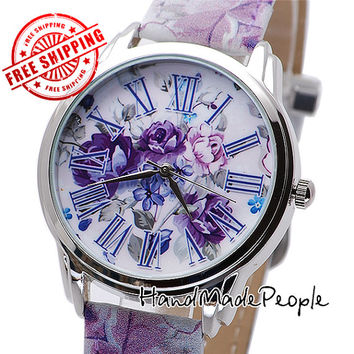 Ladies Wrist Watch Purple Flowers, Beautiful Women Watch, Gift Idea, Girlfriend Gift, Women Gift Idea + Free Extra Strap - Free Shipping