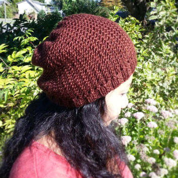 Hand Knit Cozy Mesh Hat/Beanie with Slight Slouch Fits Children and Adults Choose from a Variety of Colors