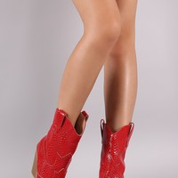 Snake Embossed Pointy Toe Chunky Heeled Cowgirl Boots