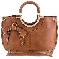 HauteChicWebstore Bow Accented Faux Leather Tote Bag in Brown at www.shophcw.com