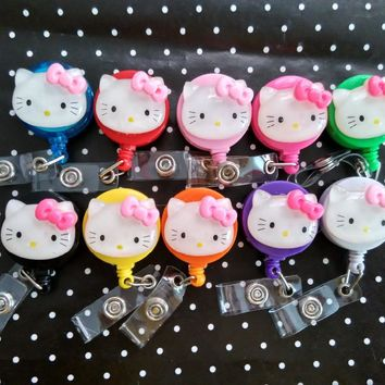 New Various color of  Cute Hello Kitty Retractable id badge holder reel 10pcs/lot