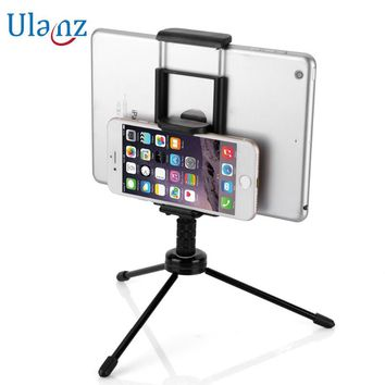 2-in-1 Phone Tablet Tripod with Mount Adapter Universal Tablet/Phone Clamp Holder for iPad Air Mini Pro iPhone Samsung