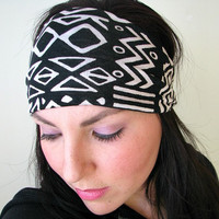 Jersey Bandana Headband, Tribal Aztec print, wide fabric headband, Yoga headband, Workout headwrap, boho headband