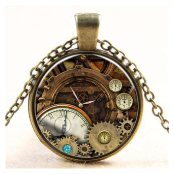 Stylish Vintage Printing Clock Compass Pendant Necklace For Women