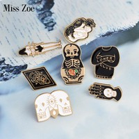 Miss Zoe Matryoshka Loner Club Skeleton Palm Totem Girl Brooch Denim Jacket Pin Buckle Shirt Badge Fashion Gift for Friend
