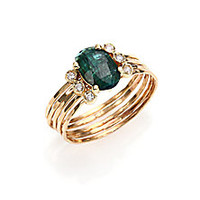 Jacquie Aiche - Green Tourmaline, Diamond & 14K Yellow Gold Multi-Row Waif Ring - Saks Fifth Avenue Mobile