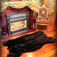New Faux Fur Black Bear Skin area Rug / plush Life Size / black Sheepskin Accent Throw Carpet / approx 5 'x 6'